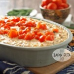 hot bacon feta dip topped with tomatoes