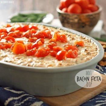 Hot Bacon Feta Dip! This is my favorite easy gameday appetizer. YUM!