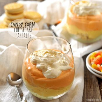 No Bake Candy Corn Cheesecake Parfaits! Easy and fun Fall sweet treat! Perfect for Halloween! - The Cookie Rookie