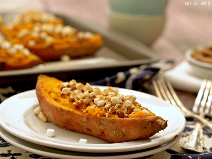 Loaded Sweet Potato Skins, the perfect side dish for Thanksgiving! These are so fun and delicious! - The Cookie Rookie