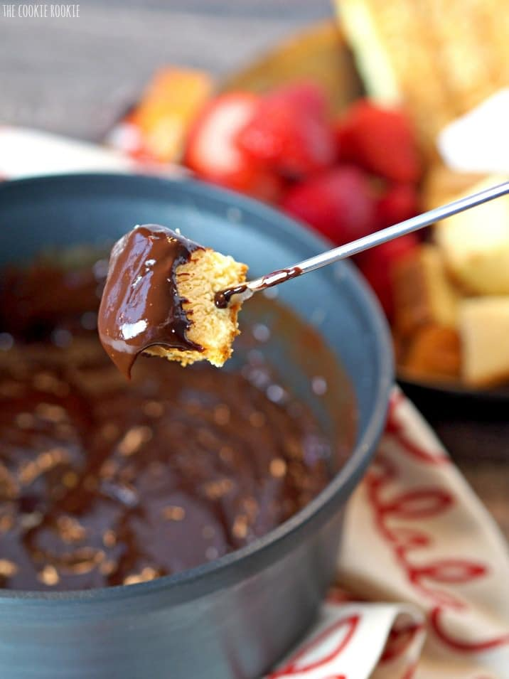 orange chocolate fondue with cheesecake bites