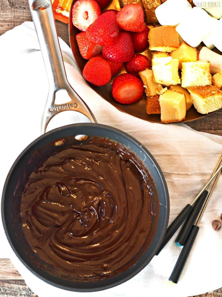 orange chocolate fondue with strawberries, pound cake and marshmallows