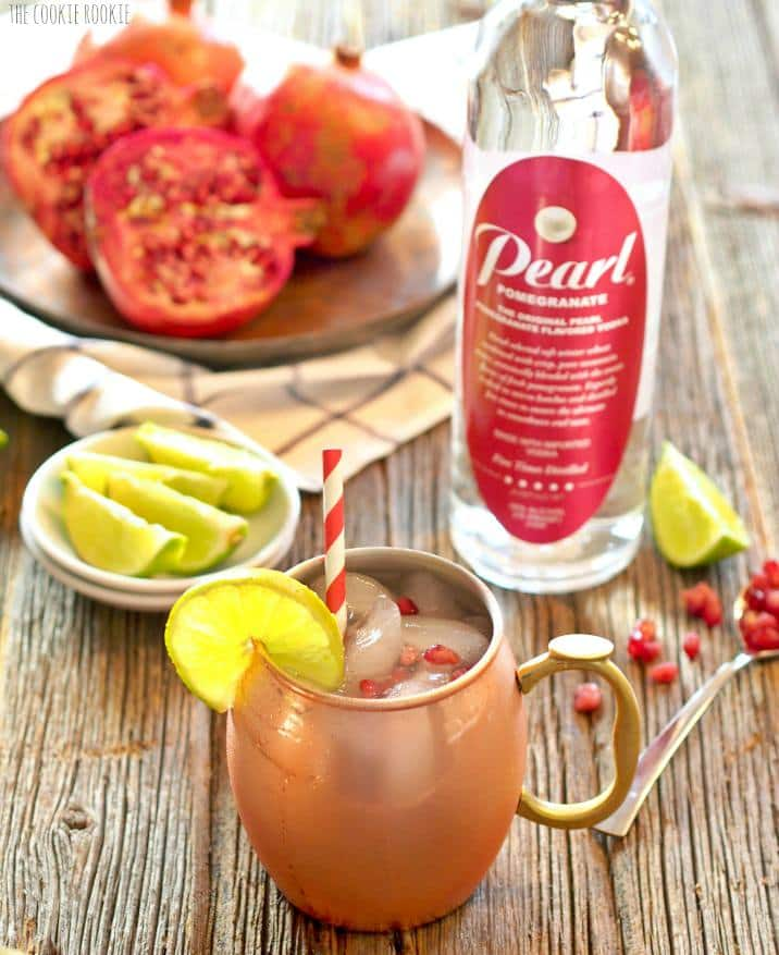 Pomegranate Moscow Mule on table