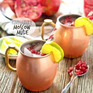 pomegranate moscow mules in copper mugs