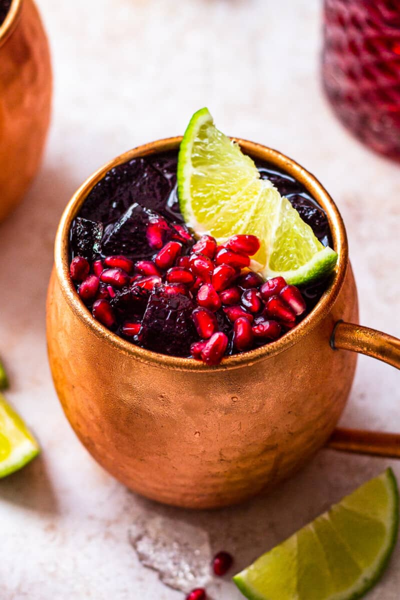 up close pomegranate moscow mule