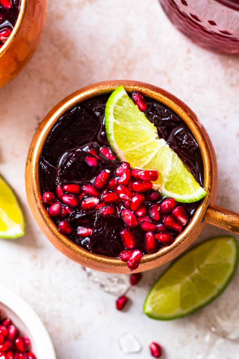 overhead up close pomegranate moscow mule
