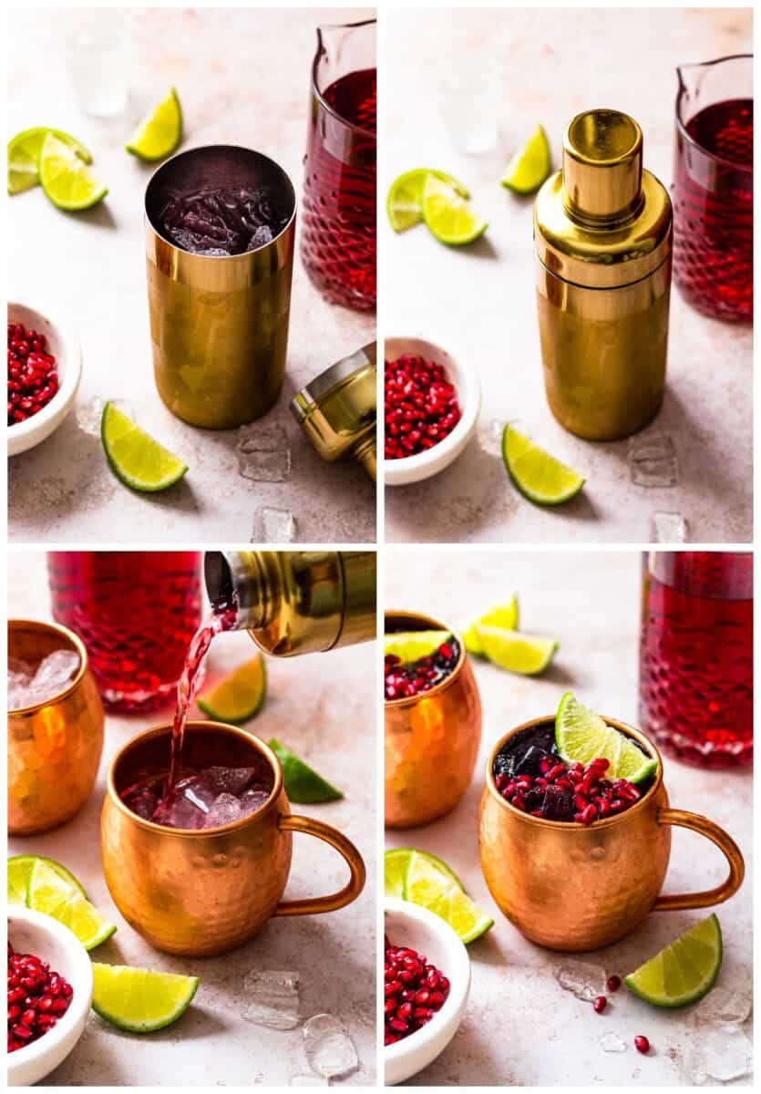 step by step photos for how to make pomegranate moscow mules