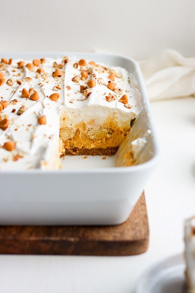 Baking dish filled with pumpkin lasagna dessert