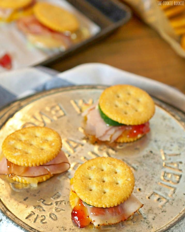 Sweet and Spicy Jamwiches! The perfect holiday appetizer. Fun little sandwiches made with Ritz Crackers. So fun and easy!   The Cookie Rookie
