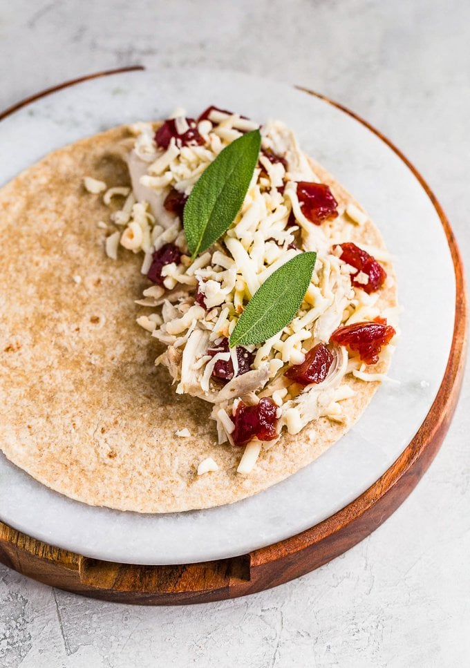 Turkey, Cheese, Cranberry, and Sage Quesadilla
