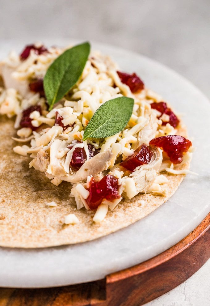 Turkey leftover ideas: Quesadilla with turkey, cranberry sauce, cheese, and sage.