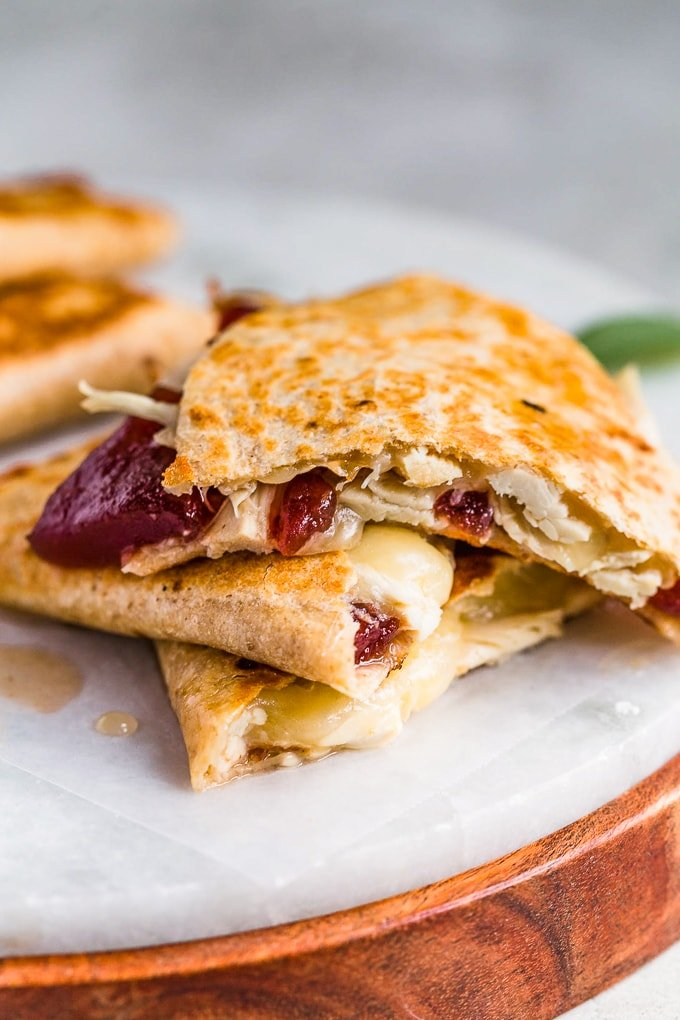 Turkey cranberry quesadilla, browned and crispy.
