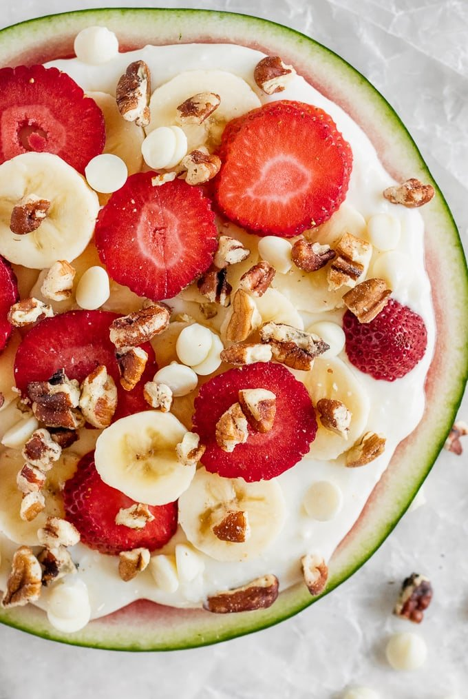 Easy summer desserts, watermelon pizza topped with fruit