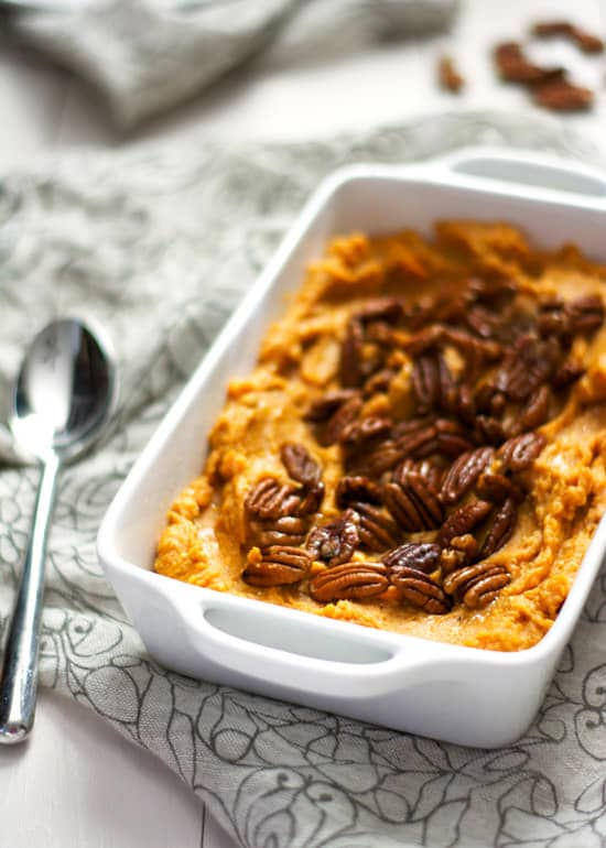 {Lighter} Smoked Gouda and Sweet Potato Casserole with Spiced Pecans | The Housewife in Training Files