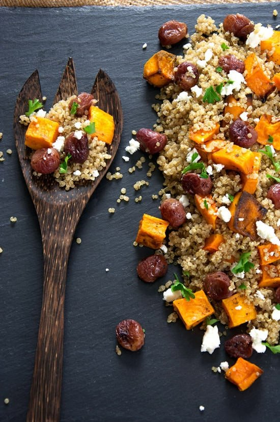 Caramelized Butternut Squash Quinoa Salad with Goat Cheese and Roasted Grapes | The Housewife in Training Files