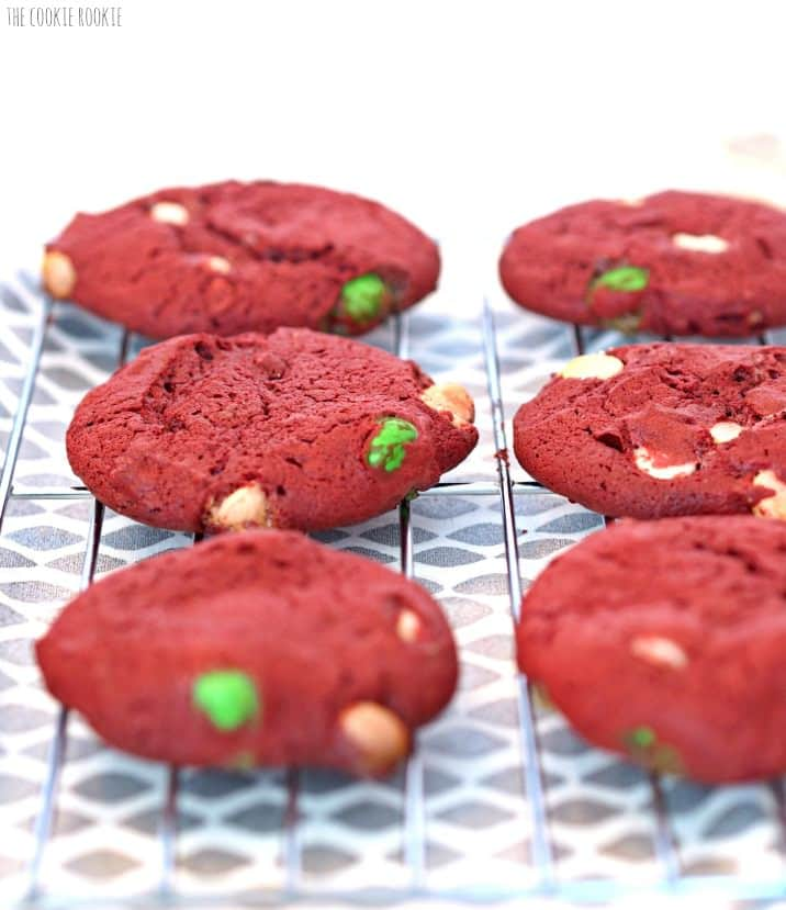 M&M Red Velvet Cake Cookies! Red Green and White Red Velvet Cookies made with cake mix! Perfect for Christmas | The Cookie Rookie