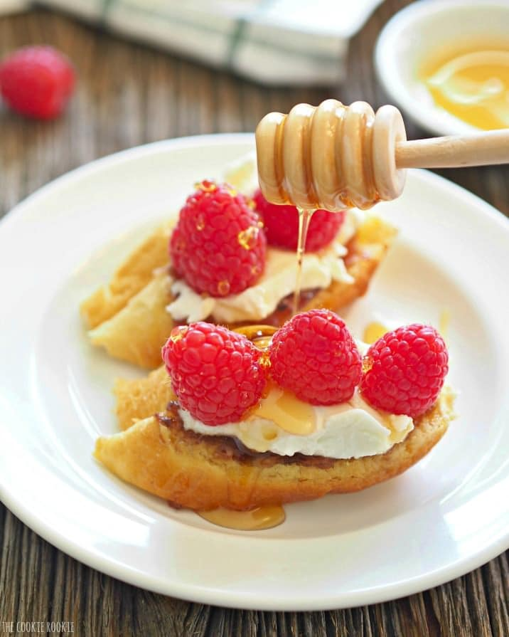 Raspberry and Honey Goat Cheese Bruschetta! A simple and elegant dessert appetizer. SO yum! | The Cookie Rookie