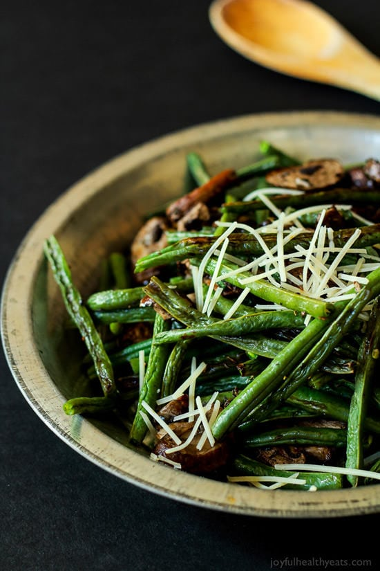 Roasted Green Beans and Mushrooms | Joyful Healthy Eats