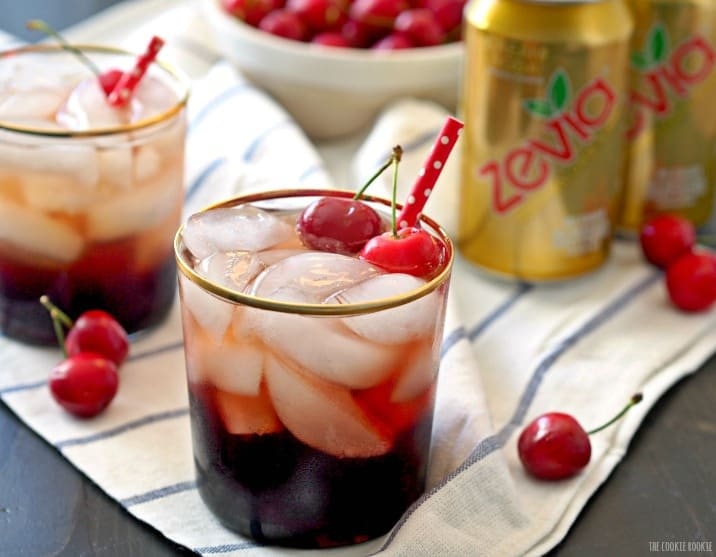 Adult Dark Cherry Cream Soda! Fun and flirty cocktail made with Dark Cherry Juice, Cream Soda, and Vodka! YUM! | The Cookie Rookie