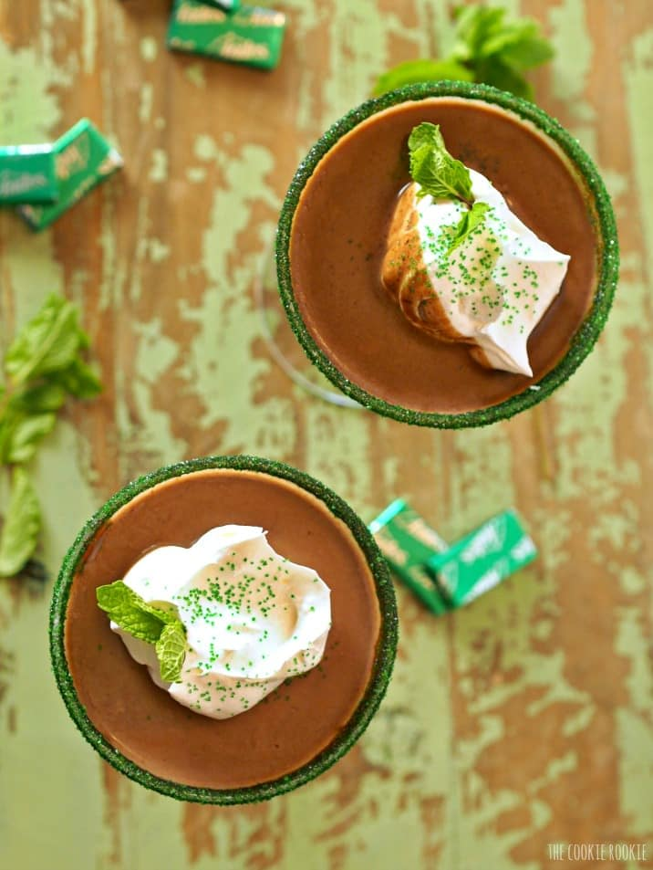 view of the top of the cocktails with whipped cream and green sprinkles