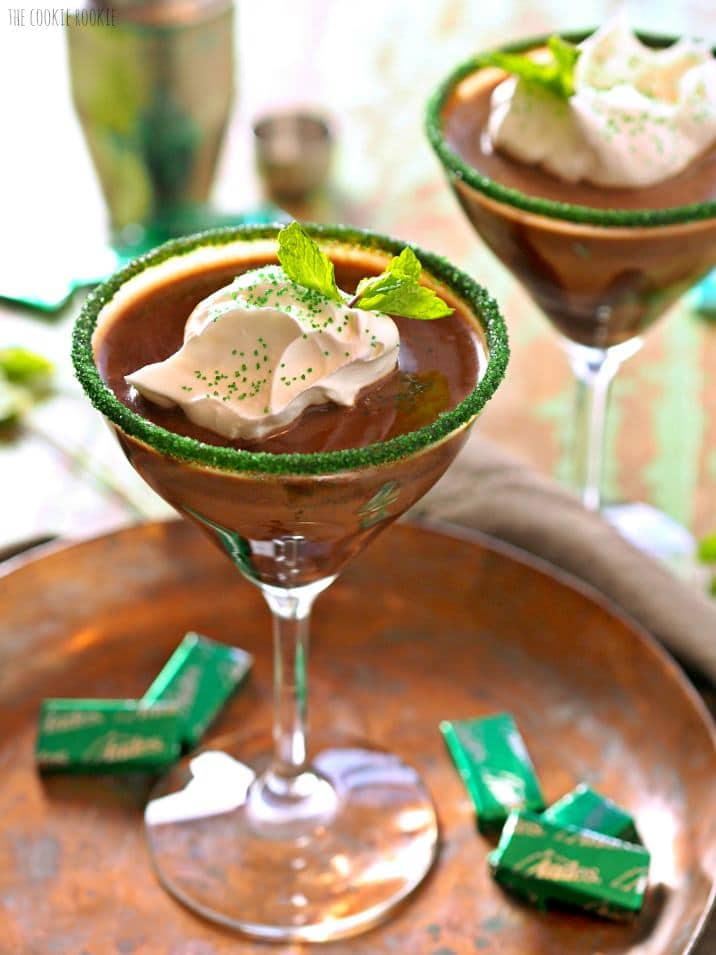 chocolatey martini on a plate with candies