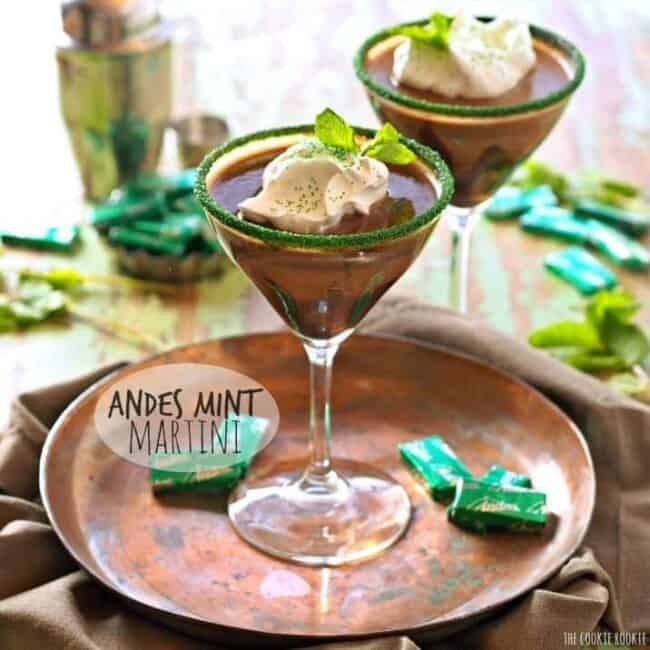 Andes Mint Martini, a creamy minty milk chocolate cocktail on plate
