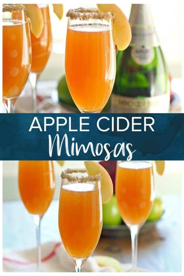 apple cider mimosas in glasses - pinterest collage