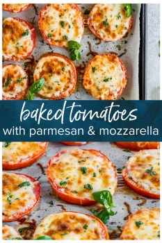 BAKED TOMATOES are a super quick and super easy side dish or appetizer for any occasion! These cheesy Baked Tomatoes with Mozzarella and Parmesan cheese are so simple yet incredibly delicious. They are always a hit when we make them and get eaten right away. These Baked Parmesan Tomatoes are just too tasty and fresh.
