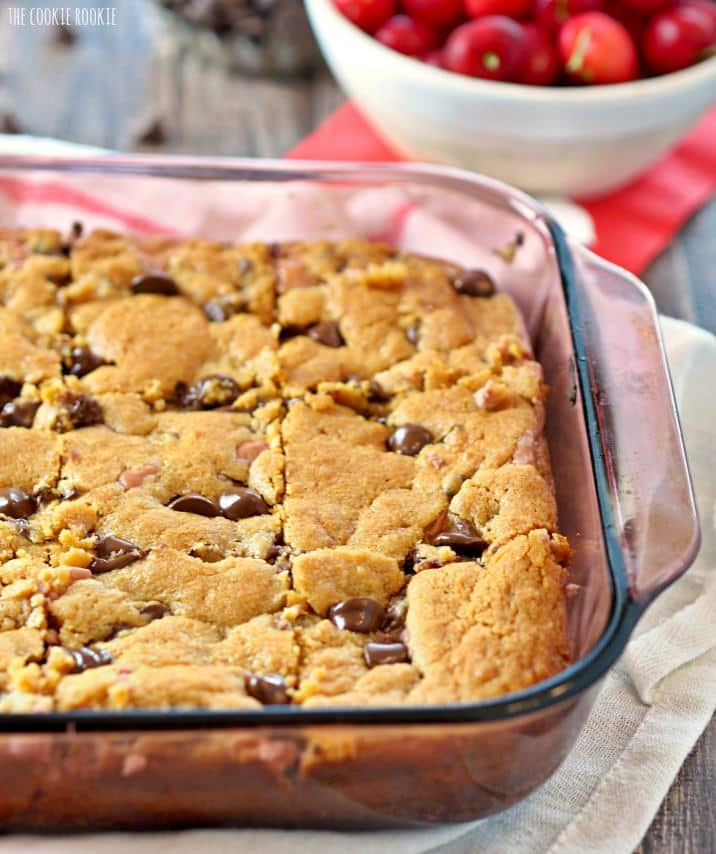 Chocolate Covered Cherry Cheesecake Cookie Bars, SO delicious. Easy Cherry Cheesecake filling! | The Cookie Rookie