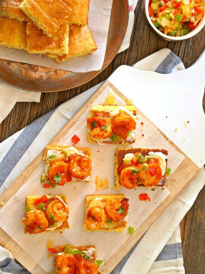 tray of creole shrimp and cornbread bruschetta
