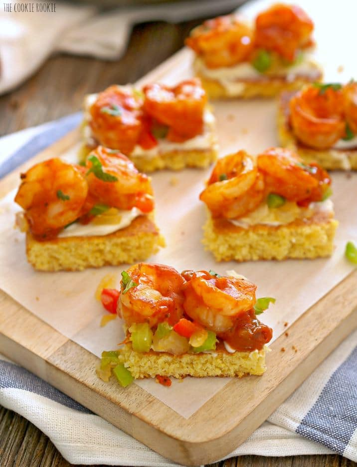 Creole Shrimp and Cornbread Bruschetta, such a fun and tasty appetizer! | The Cookie Rookie
