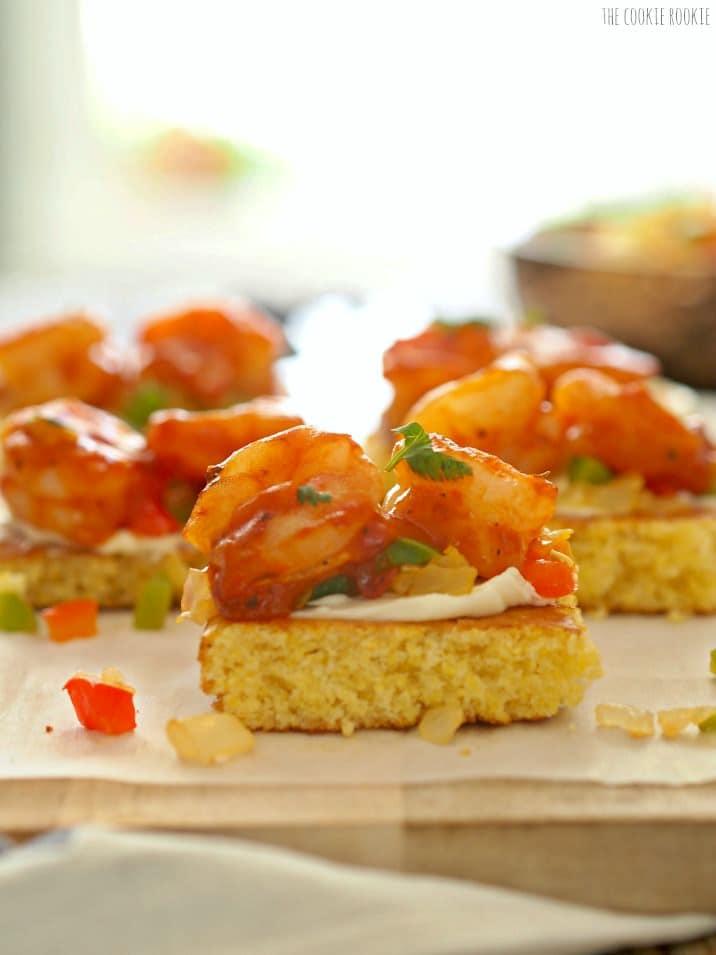 close up of creole shrimp and cornbread bruschetta