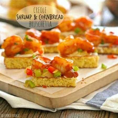 Creole Shrimp and Cornbread Bruschetta