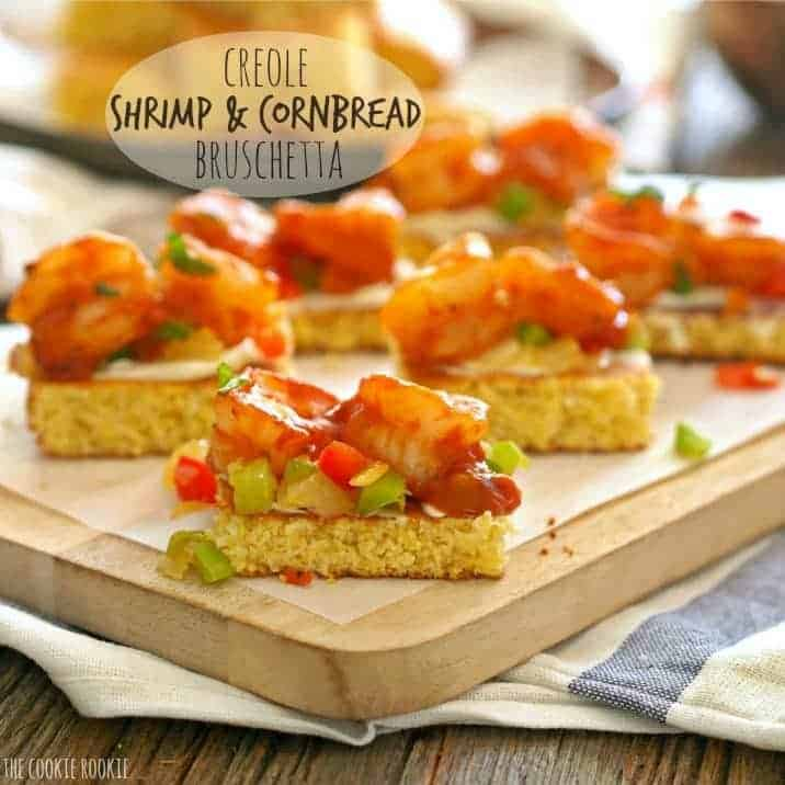 text with creole shrimp and cornbread bruschetta