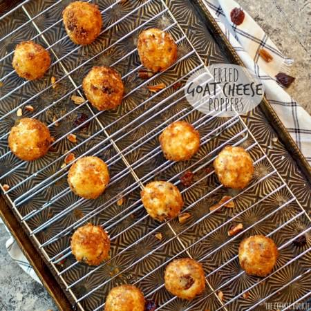 Cherry Pecan Fried Goat Cheese Poppers