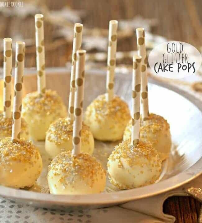 Gold Glitter Cake Pops on a plate