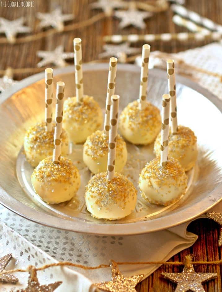lemon cake pops with polka dot gold straws