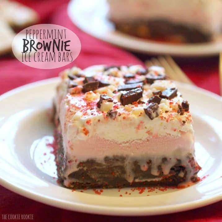 a slice of peppermint ice cream brownie bar on a white plate