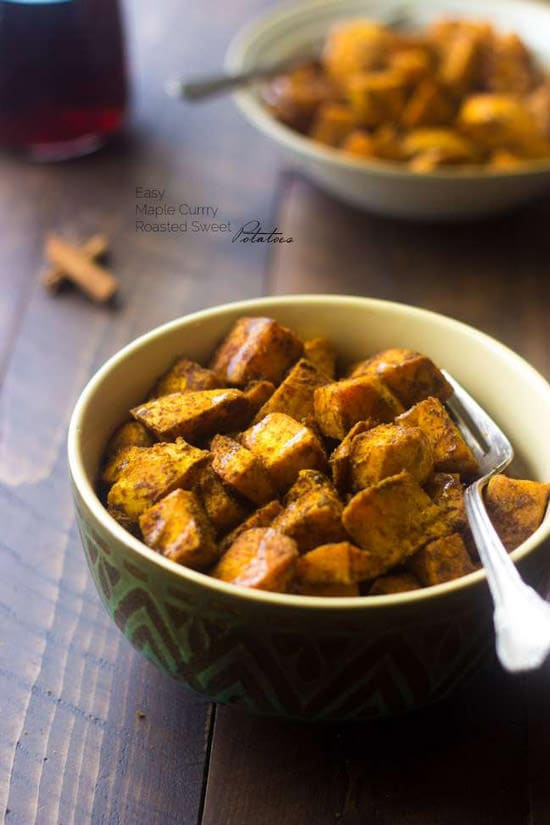 Maple Curry Roasted Sweet Potatoes | Food Faith Fitness