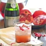 Pomegranate Champagne Sangria in a glass