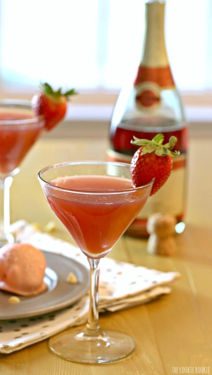Strawberry Champagne Martinis with a glass of strawberry champagne