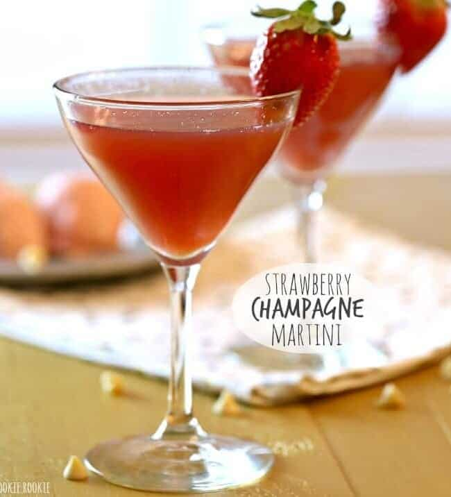 Strawberry Champagne Martinis on a table