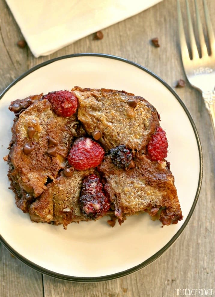 Berry Nutella French Toast Bake, BEST BREAKFAST EVER! Easy make-ahead breakfast french toast casserole with fresh berries, nutella, and chocolate chips! | The Cookie Rookie
