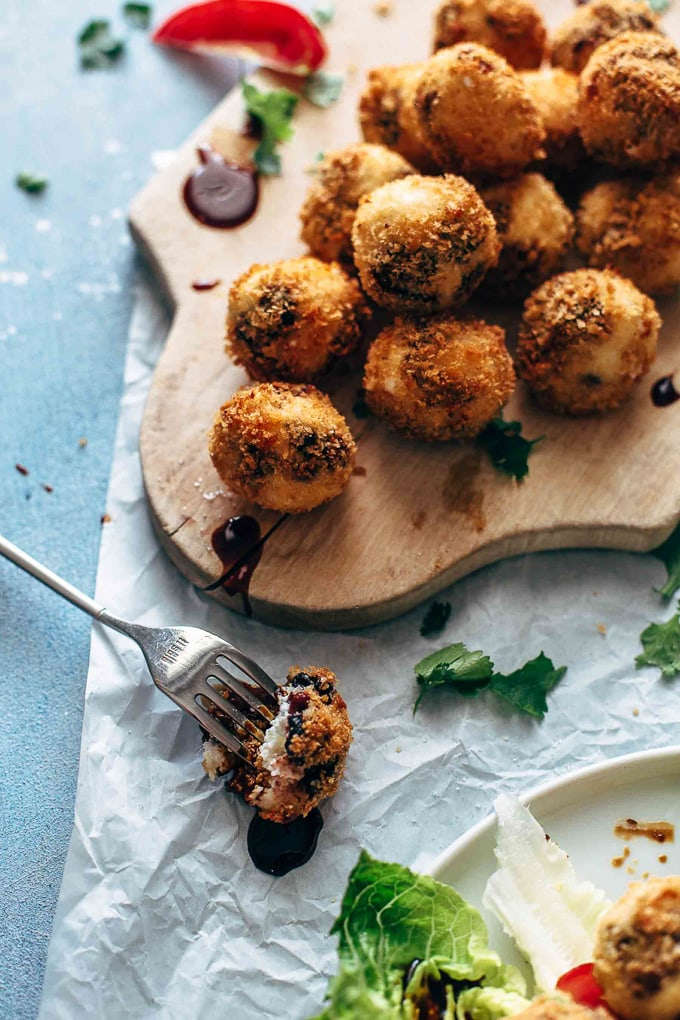 Fried Goat Cheese Balls on a serving board