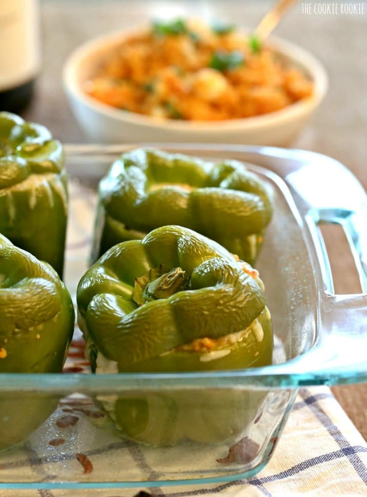 peppers in a glass baking dish