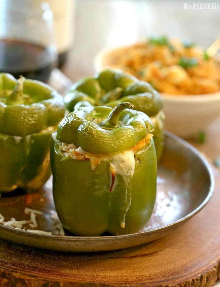 view of stuffed peppers with cheese coming out