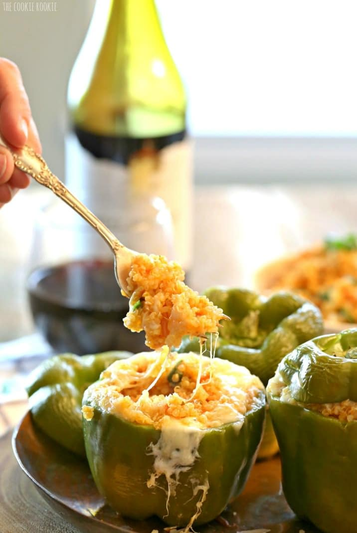 stuffed pepper with fork pulling out stuffing