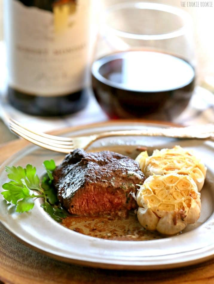 Restaurant Style Steak with Cilantro Butter and Roasted Garlic. Perfect for Valentine's Day!   The Cookie Rookie