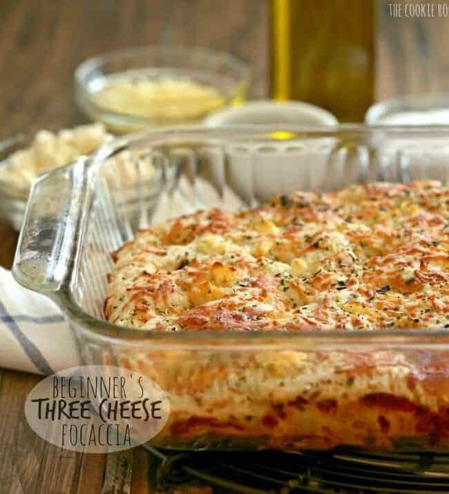 Beginner's Three Cheese Focaccia in a glass baking dish