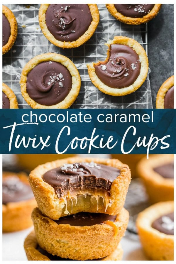 Twix Cookies are the easiest way to get your chocolate and caramel fix. This Twix Cookie Cups recipe is inspired by (obviously) the delicious Twix candy bar. These layered cookie cups are made in a muffin pan and they create the most perfect chocolate caramel cookie. Great for holidays and parties!